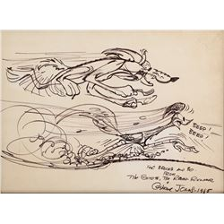"Chuck Jones large drawing of ""Roadrunner"" and ""Coyote""."