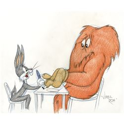 "Virgil Ross original drawing of ""Bugs Bunny"" and ""Gossamer""."