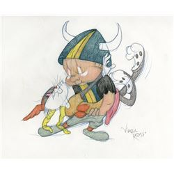 "Virgil Ross original drawing of ""Bugs Bunny"" and ""Elmer"" from What's Opera Doc."