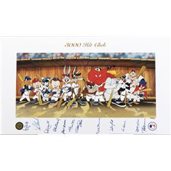 "Baseball Legends ""3000 Hit Club"" signed limited edition lithograph with Warner Bros. characters."