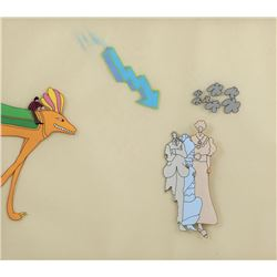 """Ringo"" riding a creature, a lightning bolt and three people production cels from Yellow Submarine."
