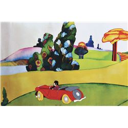 """""""Ringo"""" driving a car production cel from Yellow Submarine."""