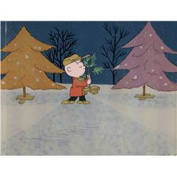 """Charlie Brown"" and tree production cel from A Charlie Brown Christmas."