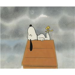 """Snoopy"" and ""Woodstock"" production cels from a Peanuts TV special."