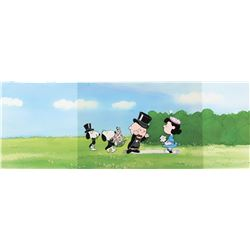 """""""Charlie Brown"""", """"Lucy"""", """"Snoopy"""" and """"Spike"""" production cels on a pan production background."""