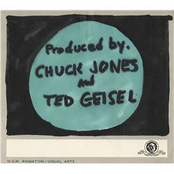 """Chuck Jones"" and ""Dr. Seuss"" title credits storyboard drawing for How the Grinch Stole Christmas!"