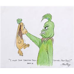 """Tom Ray original drawing featuring """"The Grinch"""" and """"Max"""" from How the Grinch Stole Christmas!"""