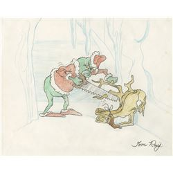 "Tom Ray original drawing featuring ""The Grinch"" and ""Max"" from How the Grinch Stole Christmas!"