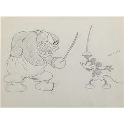 "Ub Iwerks ""Mickey Mouse"" and ""Pete"" production drawing from Galloping Gaucho."