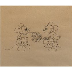 """Mickey Mouse"" and ""Minnie Mouse"" production drawing from Puppy Love."