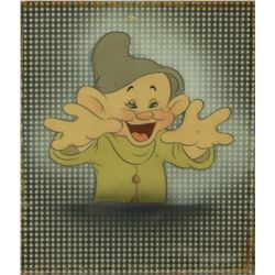 """Dopey"" production cel on a Courvoisier background from Snow White and the Seven Dwarfs."