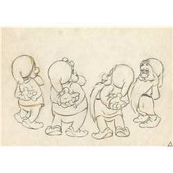 """Four Dwarfs"" production drawing from Snow White and the Seven Dwarfs."