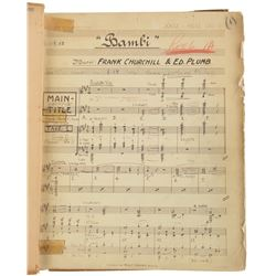 Bambi original bound conductor's score with pencil annotations.