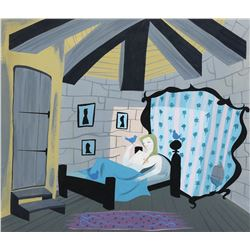 "Mary Blair concept painting of ""Cinderella"" and a ""Bluebird"" from Cinderella."