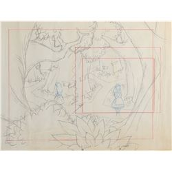 Alice in Wonderland layout production drawing.
