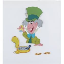 """Mad Hatter"" fixing the ""White Rabbit's"" watch production cels from Alice in Wonderland."