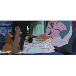 """Lady"", ""Tramp"" and ""Tony"" production cels from the Bella Notte scene of Lady and the Tramp."