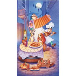 Lady and the Tramp Bella Notte illustration painting.
