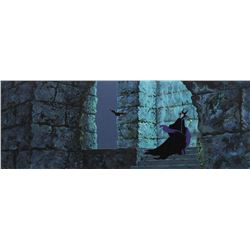 """Maleficent"" and ""Diablo"" production cels on a pan production background from Sleeping Beauty."
