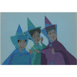 """Flora"", ""Fauna"" and ""Merryweather"" production cels from Sleeping Beauty."