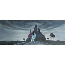 """Prince Philip"" on ""Samson"" production cel on a pan production background from Sleeping Beauty."