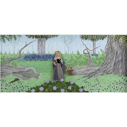 """Briar Rose"" production cel on a custom painted pan background from Sleeping Beauty."