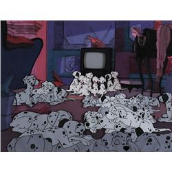 """Dalmatian Pups"" production cel on a matching production background from 101 Dalmatians."