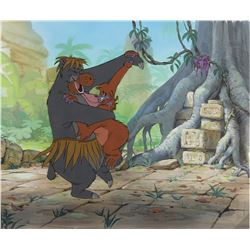 """Baloo"" and ""King Louie"" production cel on a matching production background from The Jungle Book."