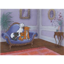 """Aristocats Family"" production cel on a hand painted production background from The Aristocats."