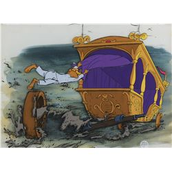 """Prince John"" and ""Carriage"" production cels on a preproduction background from Robin Hood."