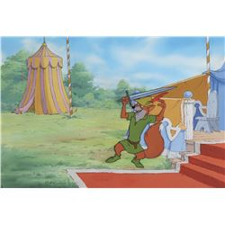 """Robin Hood"" production cel on a production background from Robin Hood."