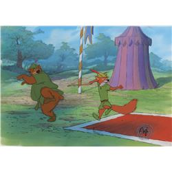 """Robin Hood"" and ""Little John"" production cels on a production background from Robin Hood."