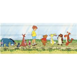 """Winnie the Pooh"" (2) side-by-side model cels featuring all the characters."