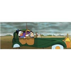 """Scrooge McDuck"" and ""Duckworth"" pan production cels on a pan production background from DuckTales."