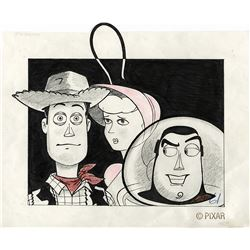 """""""Sheriff Woody"""", """"Buzz Lightyear"""" and """"Bo Peep"""" concept drawing from Toy Story."""