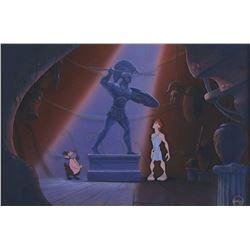 """""""Hercules"""" & """"Phil"""" studio prepared cel & matching background with production overlays from Hercules"""