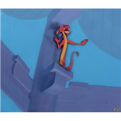 """""""Mushu"""" studio prepared cel on a matching production background from Mulan."""