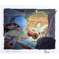 """Toby Bluth signed limited edition giclee featuring """"Tinker bell"""" from Peter Pan."""