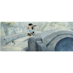 "Toby Bluth created hand-painted background and cels featuring ""Pinocchio"" and ""Jiminy Cricket""."