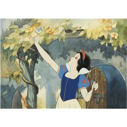 "Toby Bluth hand-painted background & cel with ""Snow White"" from Snow White and the Seven Dwarfs."