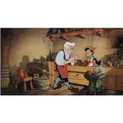 """Geppetto"" and ""Pinocchio"" limited edition cel entitled ""Geppetto's Workbench""."