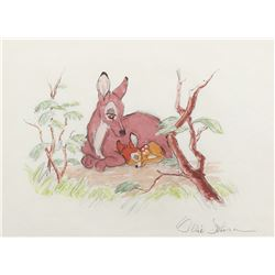 "Ollie Johnston watercolor painting of ""Bambi"" and his ""Mother""."