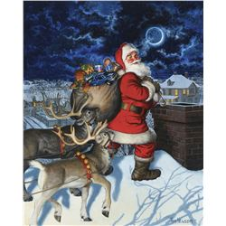 "Tom Newsom illustration painting entitled, ""Santa on the Rooftop."""