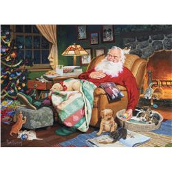 "Tom Newsom original illustration painting for the ASPCA entitled, ""Sleeping Santa""."