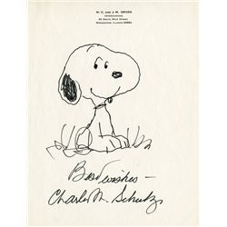 "Charles Schulz sketch of ""Snoopy""."