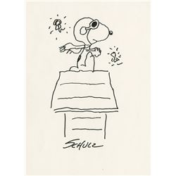 "Charles Schulz sketch of ""Snoopy"" as the ""Flying Ace""."