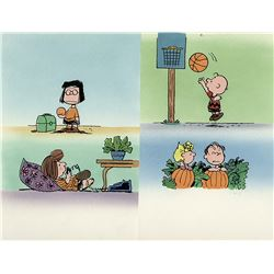 """Peanuts"" illustration art for Snoopy's Book of Colors by Charles Schulz with ""Linus"" and ""Sally""."