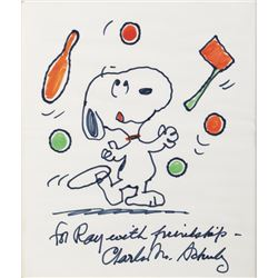 "Charles Schulz signed large colored drawing of ""Snoopy""."