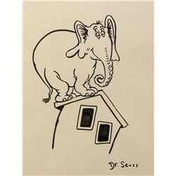 "Dr. Seuss drawing of ""Horton"" on a House."