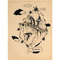 Dr. Seuss drawing of a Bird on a Floating Island.